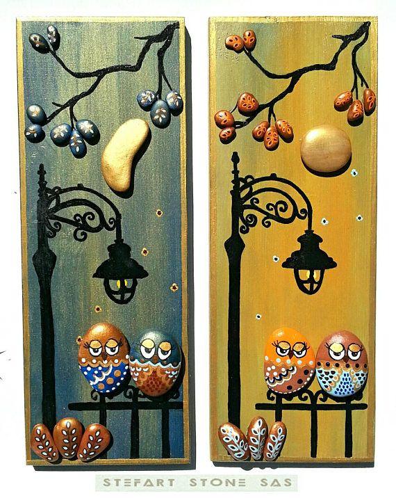 Unique pebble art gift for couple owl pebble art-Romantic #thegreatoutdoors