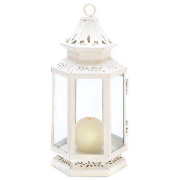 Amazon.com - Gifts & Decor Medium Size Victorian White Candle Lantern Candleholder