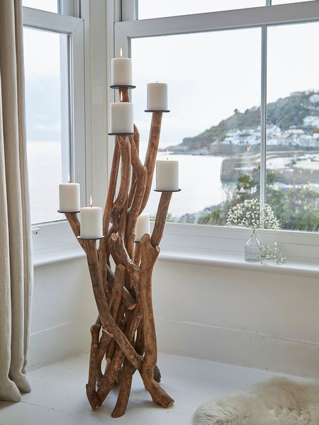 Floor Standing Driftwood Candelabra Large Candle Holders Floor Candle Holders Rustic Candle Holders