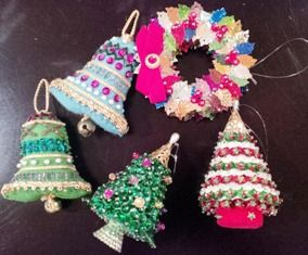 beaded ornaments. I especially like how the wreath is done with leaf sequins.