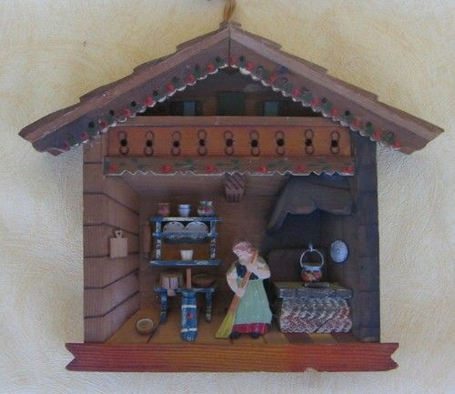 Kitchen Diorama Made Of Cereal Box: Vintage Black Forest Germany Carved Wooden Folk Art