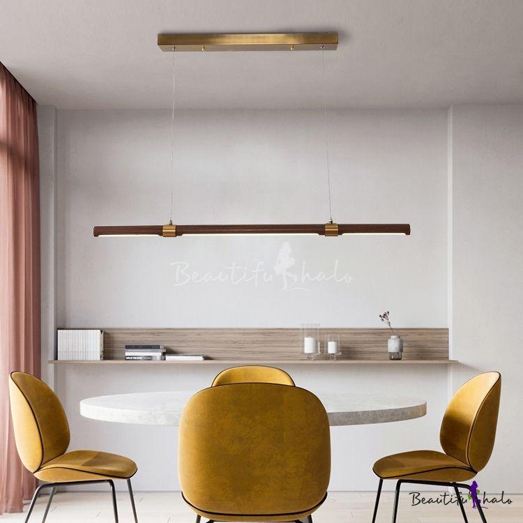 Simple Style Tube Light Third Gear Metal Wood Led Pendant Lighting For Dining Room Restaurant Dining Room Lighting Tube Light Pendant Lighting