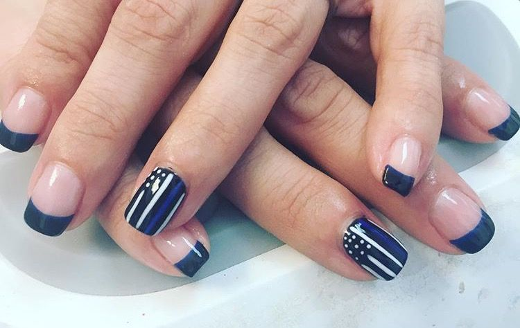 Thin Blue Line Police Nail Art Gel Polish Lines On Nails Short Acrylic Nails Designs Line Nail Designs
