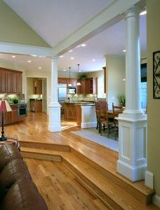 Step Down Living Room With Encased Pillars Sunken