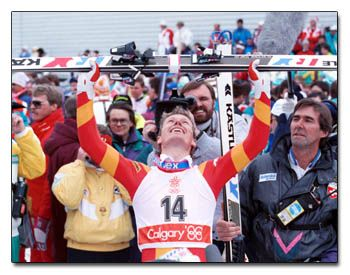 Pirmin Zurbriggen rejoices after winning Gold in the Men's Downhill in Calgary,1988. He also won the Bronze in the Giant Slalom that year.