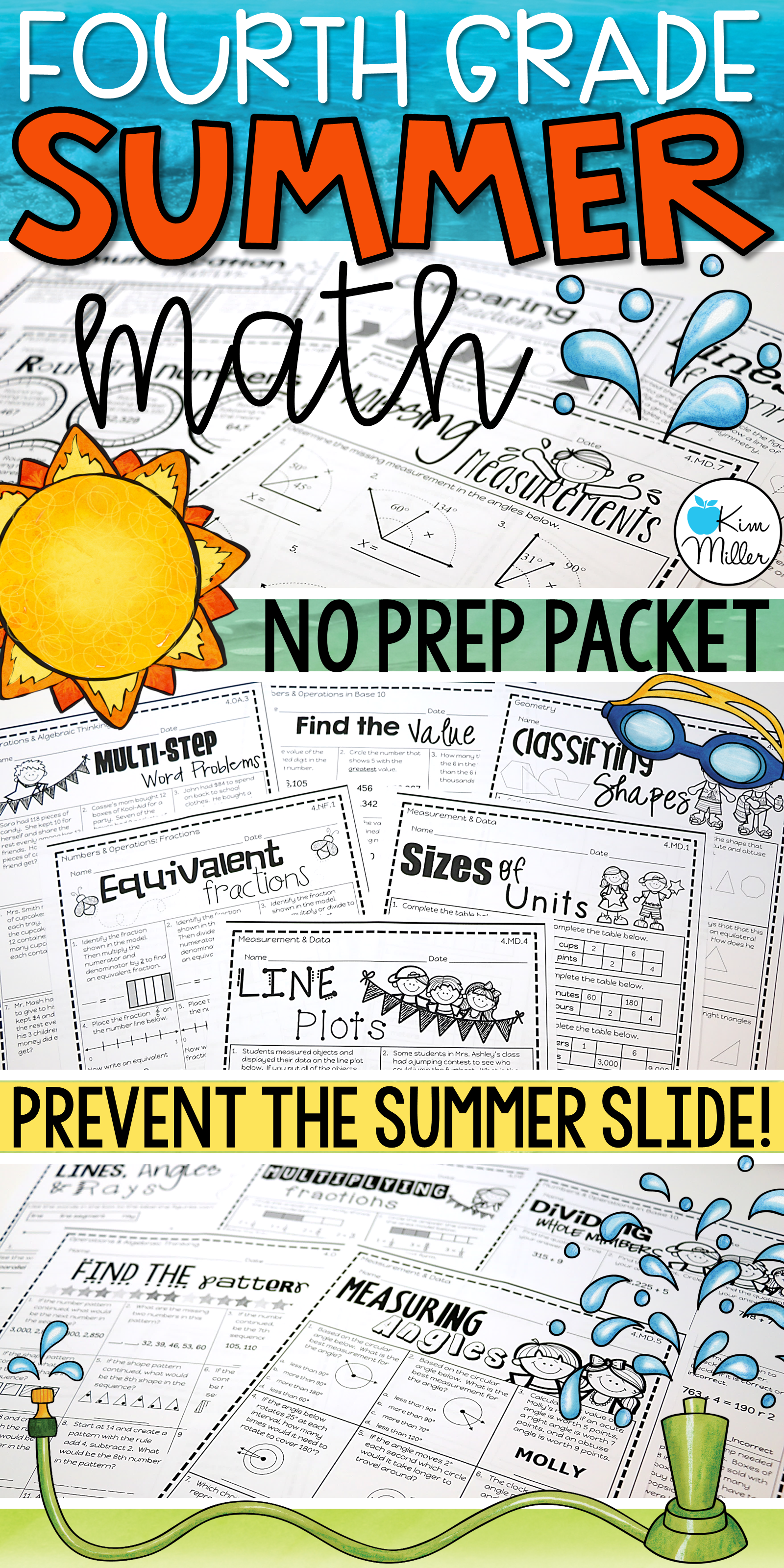 Math Summer Skills Review No Prep Packet 4th Grade
