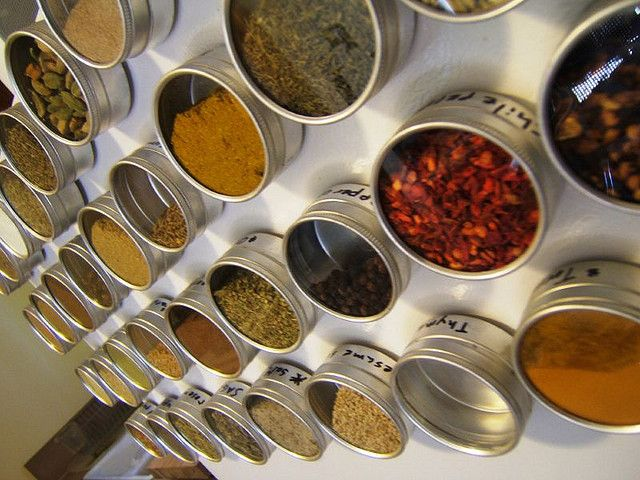 fridge mounted magnetic spice rack by catherineS4946, via Flickr