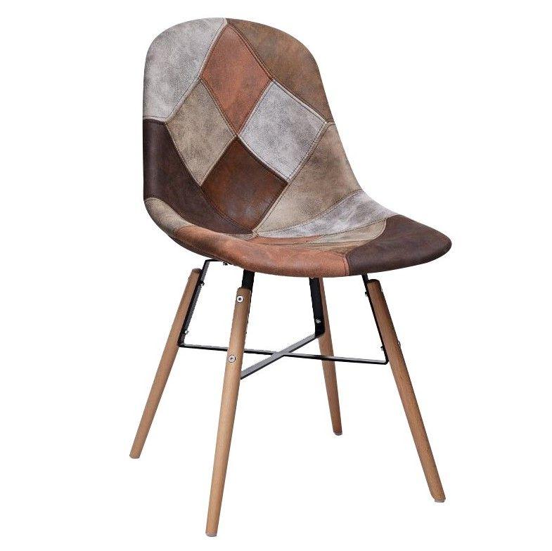 Chaise Scandinave Patchwork Marron Et Gris Canada Chaise En Patchwork Chaise Scandinave Chaise Style Industriel