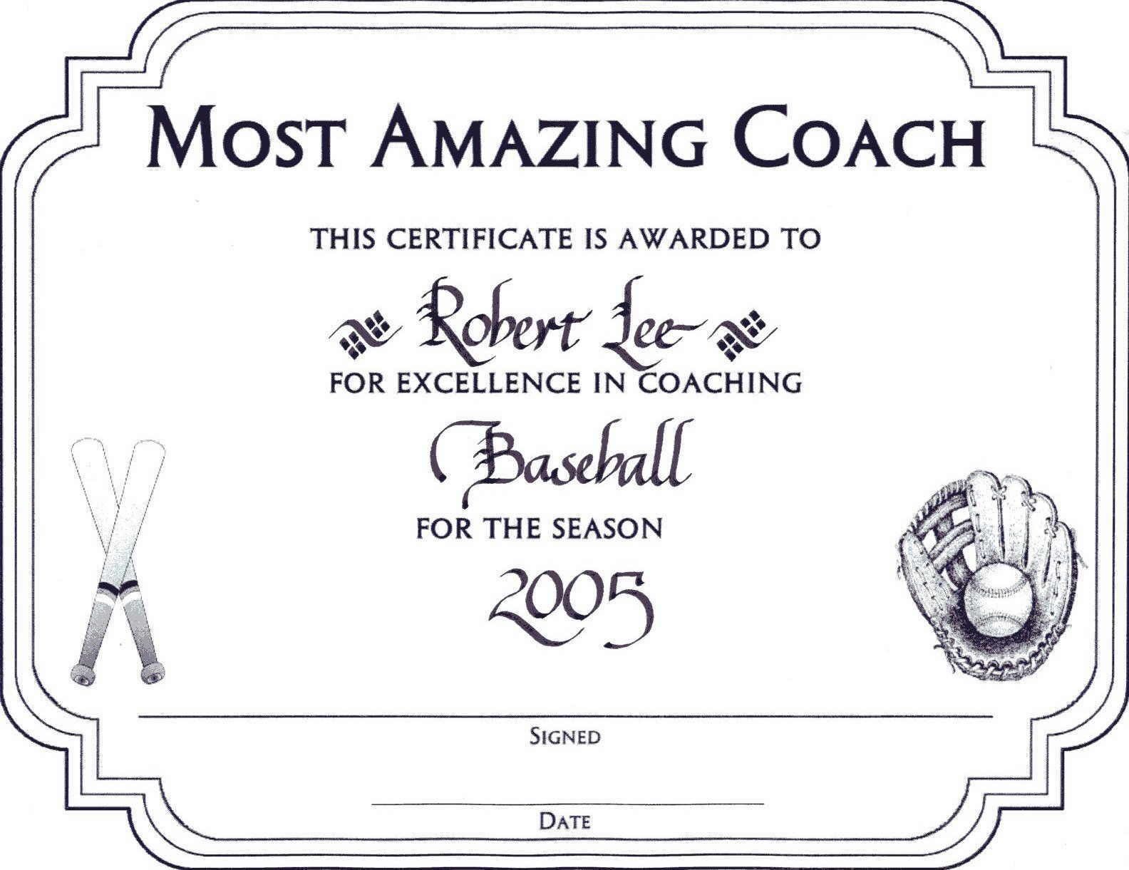 Coach award certificate ideas gifts for teachers and coaches coach award certificate yadclub Choice Image
