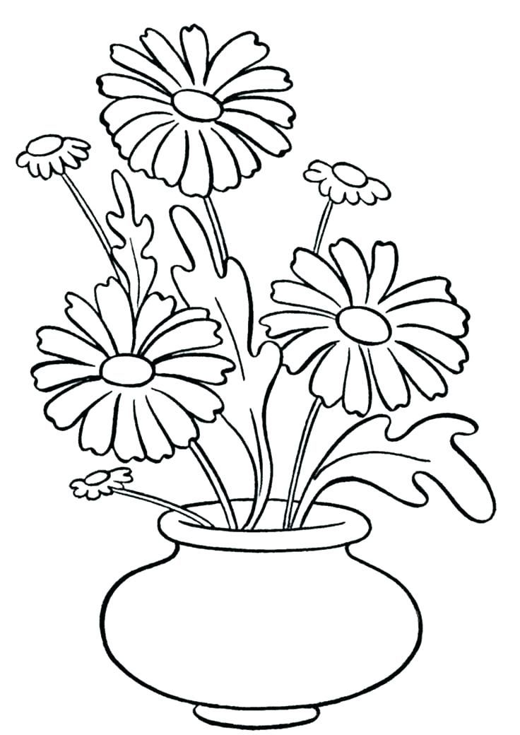 Flower Vase Coloring Page Flowers In Vase Coloring Pages Vase With