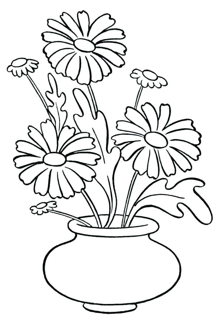 Flower Vase Coloring Page Flowers In Vase Coloring Pages Vase With Flower Drawing Flower Coloring Pages Printable Flower Coloring Pages