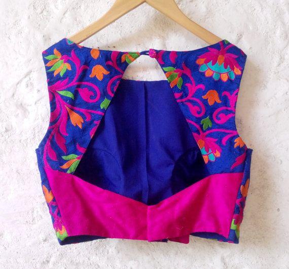 Blue Padded Silk Blouse with Bright Floral от Amoristudios на Etsy #designofblouse