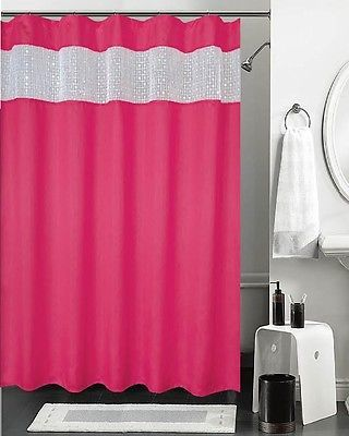 Hot Pink Shower Curtain With Sequined Sheer Window Top Bathroom