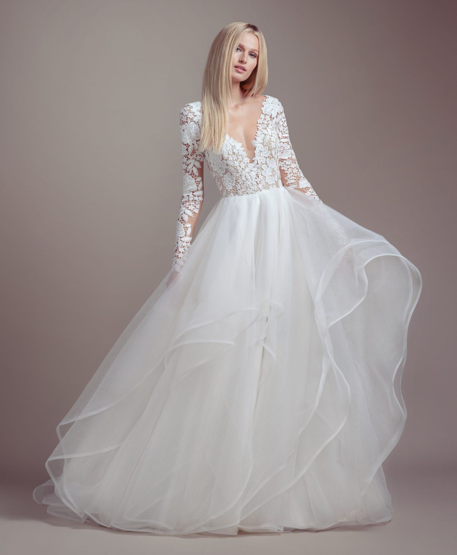Lace Bodice Long Sleeve Ball Gown Wedding Dress With Images