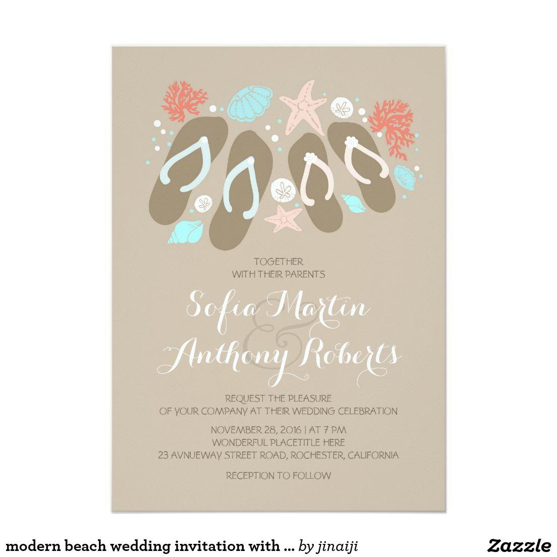 Modern beach wedding invitation with flip flops | Pinterest | Beach ...