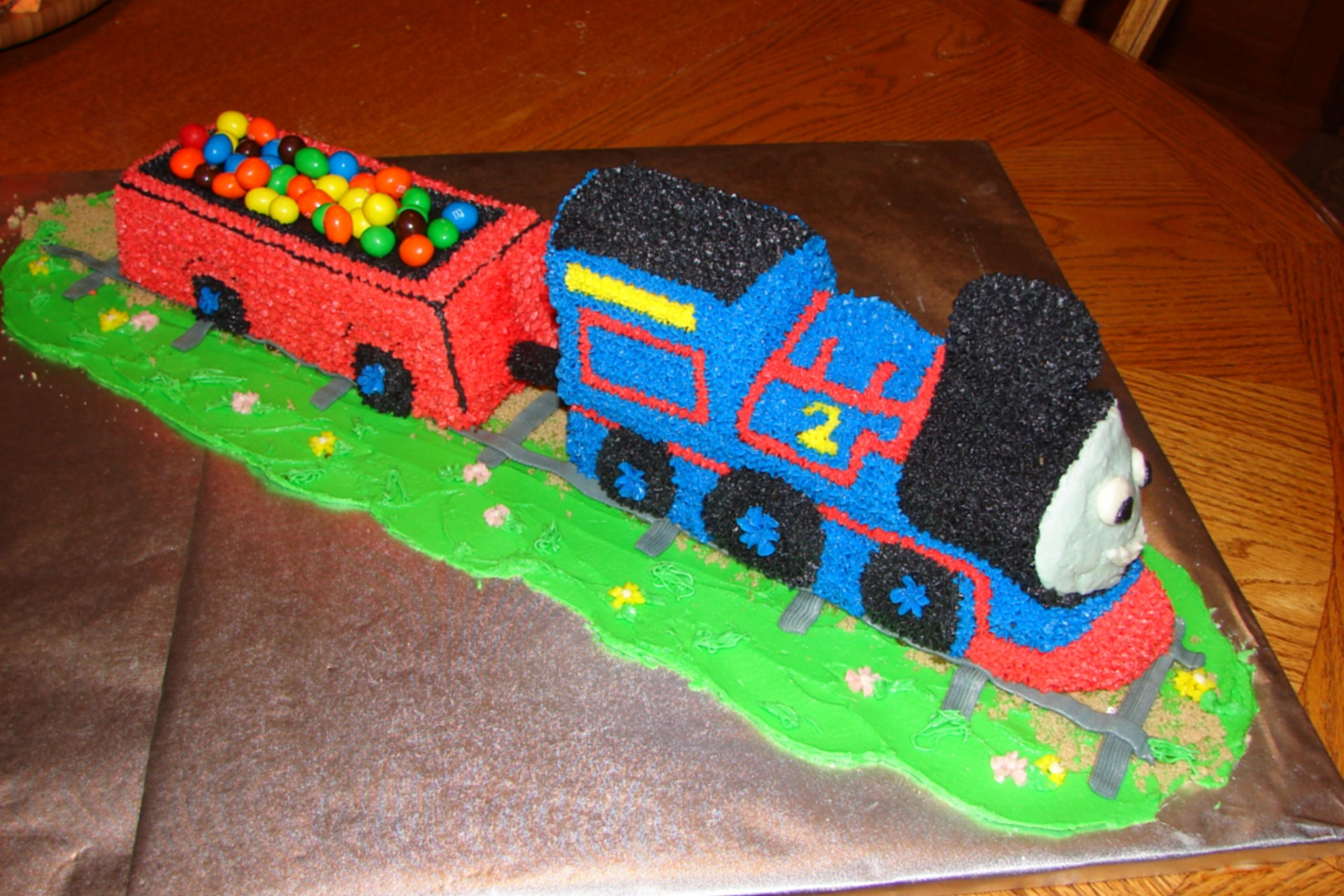 Thomas The Train Cake Made Using Choo Pan And Mini Loaf