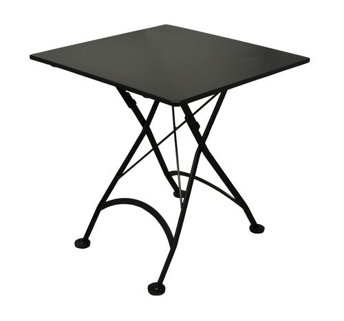 French Café Bistro Folding Table With Jet Black Frame Square Steel - Small metal work table