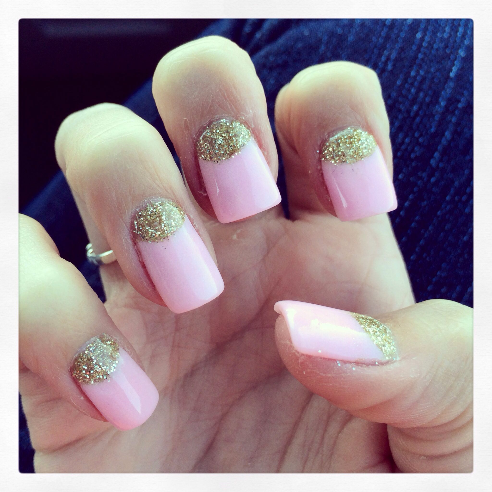 Nexgen reverse French nails with baby PINKGLITTER | Nails ...