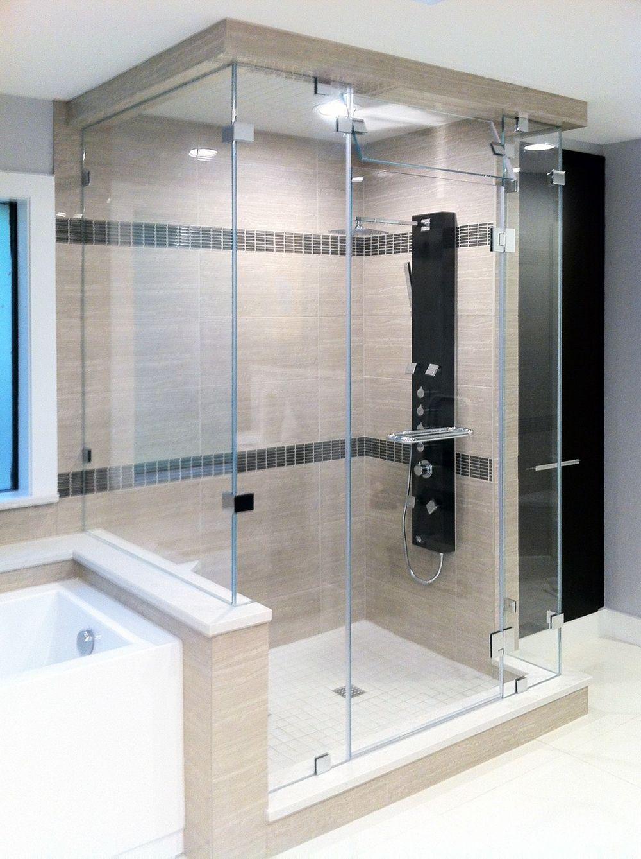 Steam Shower With Double 90 Degree Return Frameless Shower Doors