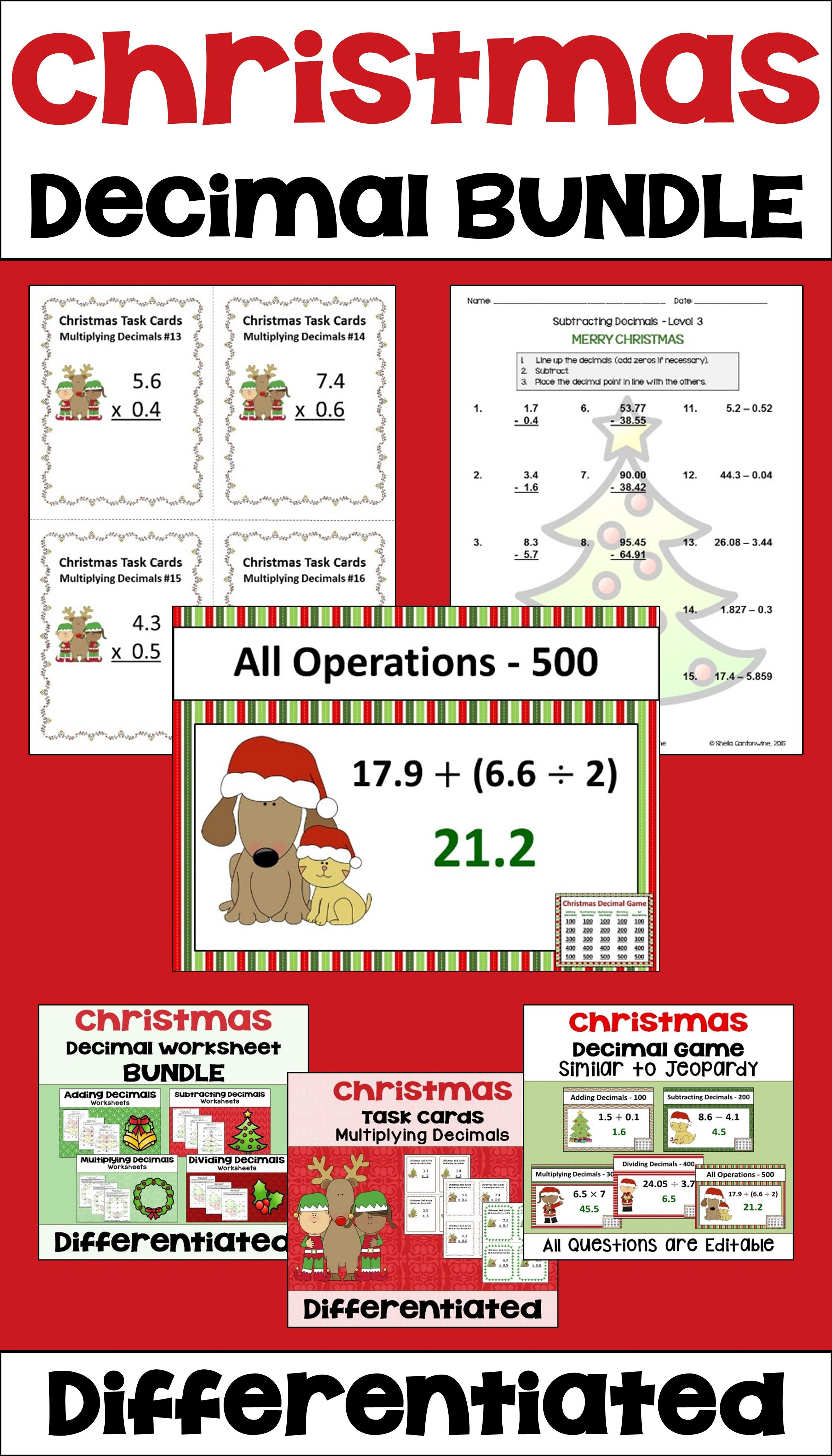 Christmas Decimal Bundle With Worksheets Task Cards And