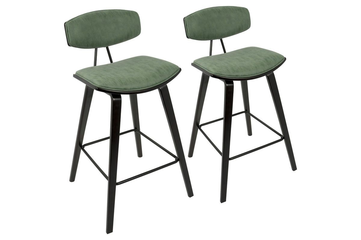 Damato 26 Mid Century Modern Counter Stools Set Of 2 In Espresso With Green By Lumisource Modern Counter Stools Counter Height Stools Bar Stools