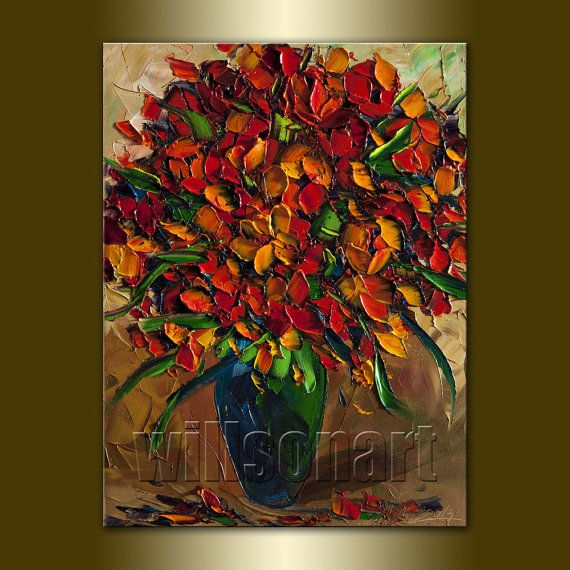 Floral canvas modern flower oil painting textured palette for Palette knife painting acrylic