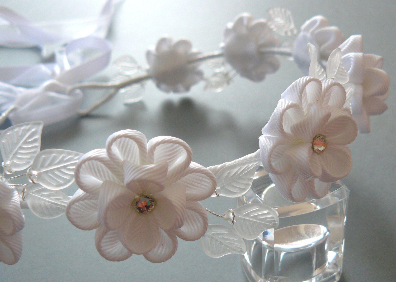 White kanzashi fabric flower wreath white bridal hair accessory white kanzashi fabric flower wreath white bridal hair by julva izmirmasajfo