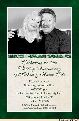 Classic photo 40th anniversary invitation wedding style 30th anniversary green card stopboris Image collections