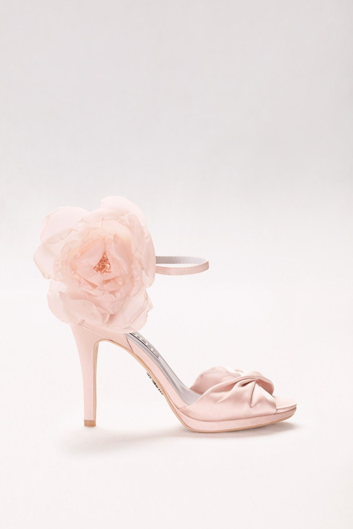 496a7ce637e A lush chiffon bloom makes these twist-front satin heels a fashion-forward  addition to wedding dresses and event dresses alike. Shop These White by  Vera ...