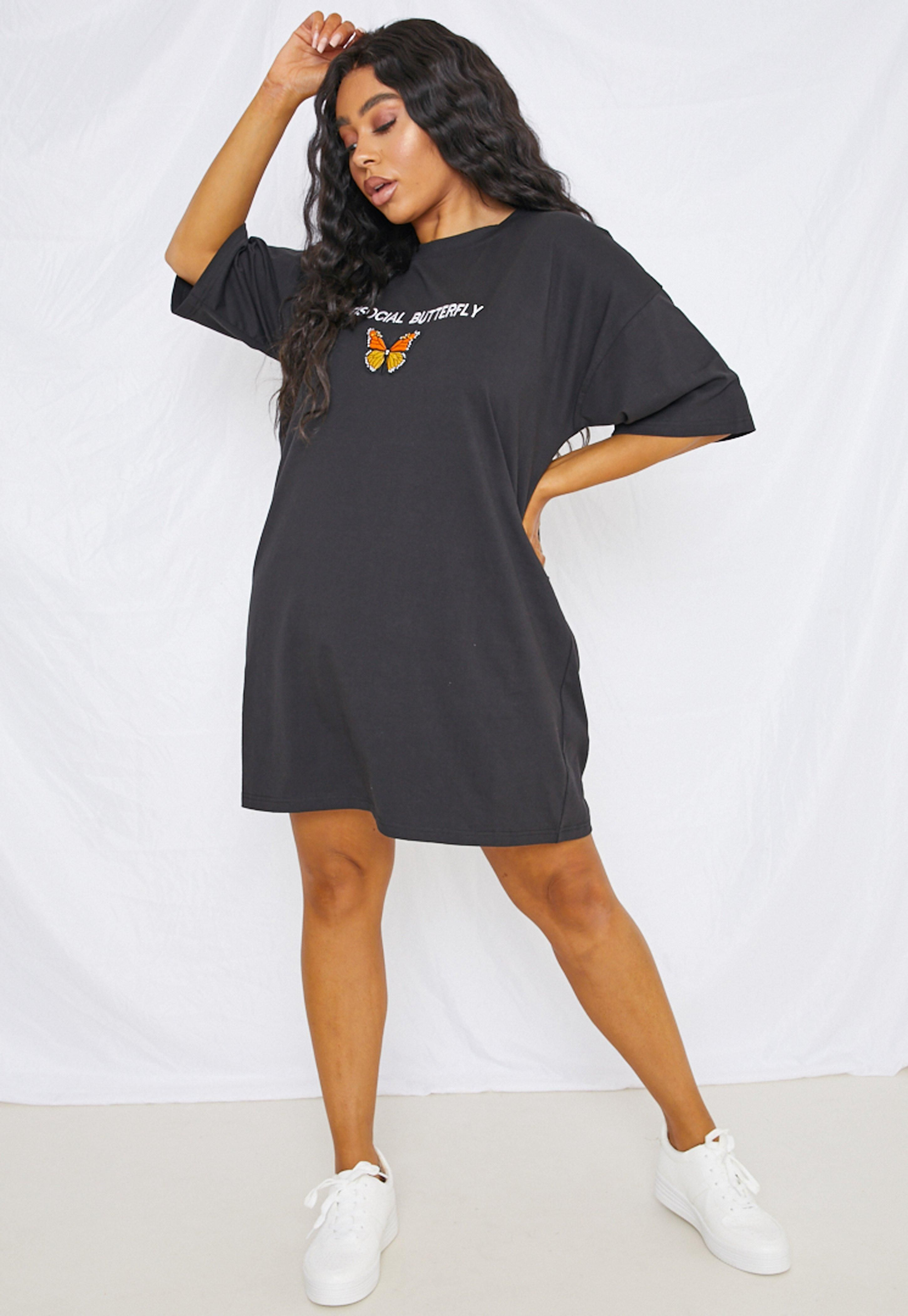 Plus Size Black Embroidered Butterfly Oversized T Shirt Dress Spon Tshirt Dress Outfit Tshirt Dress Outfit Black Girl Oversized Tshirt Dress Outfit Black Girl [ 4200 x 2900 Pixel ]