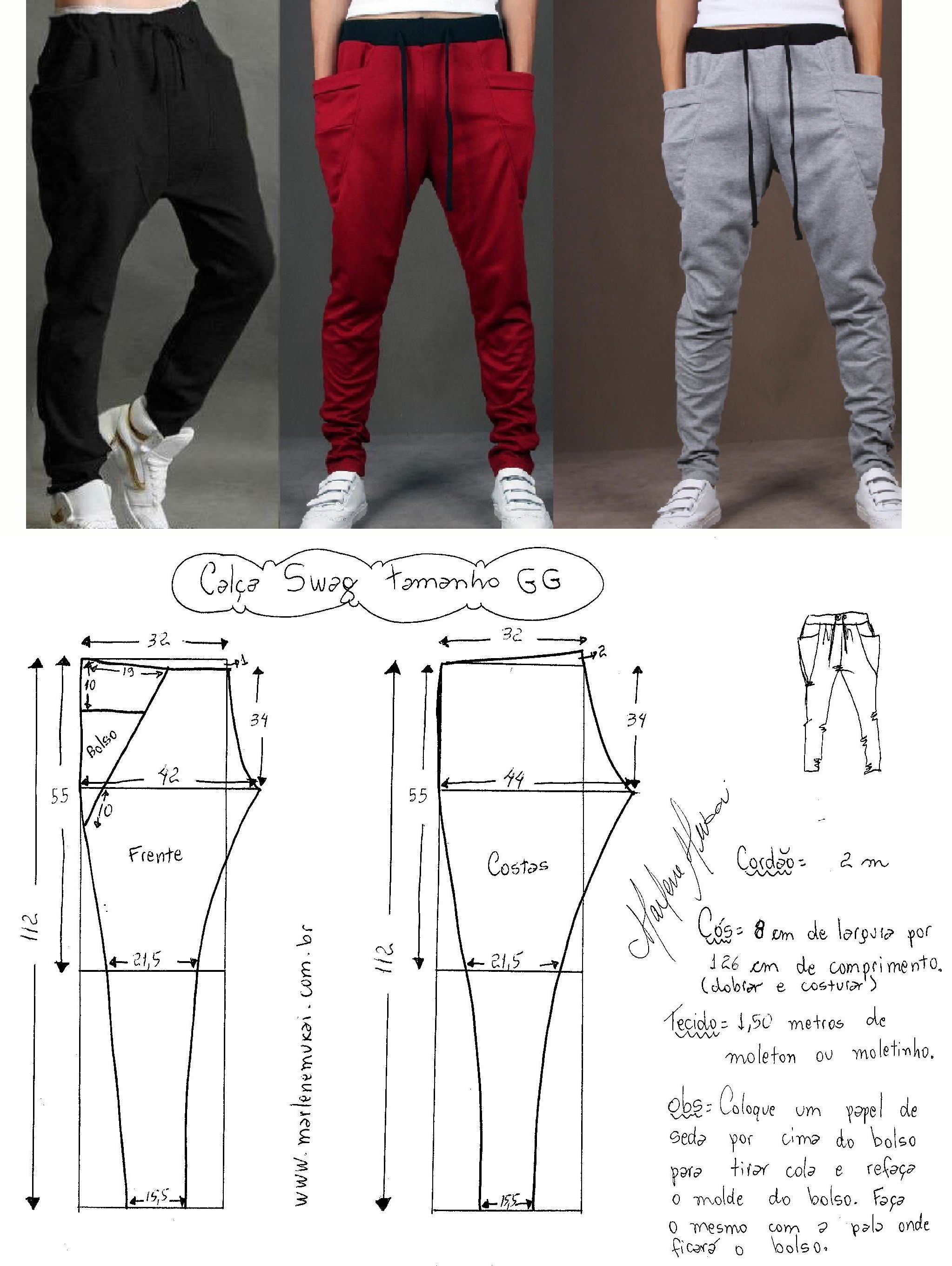 Patron de Pantalon sencillo. Easy pants pattern.. | Tutoriales de ...