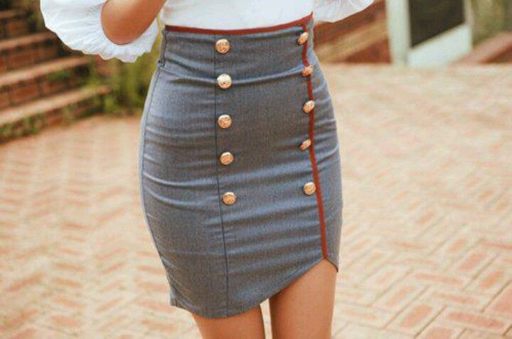 Love this skirt...love the gold Marine Corps blues uniform buttons detail!