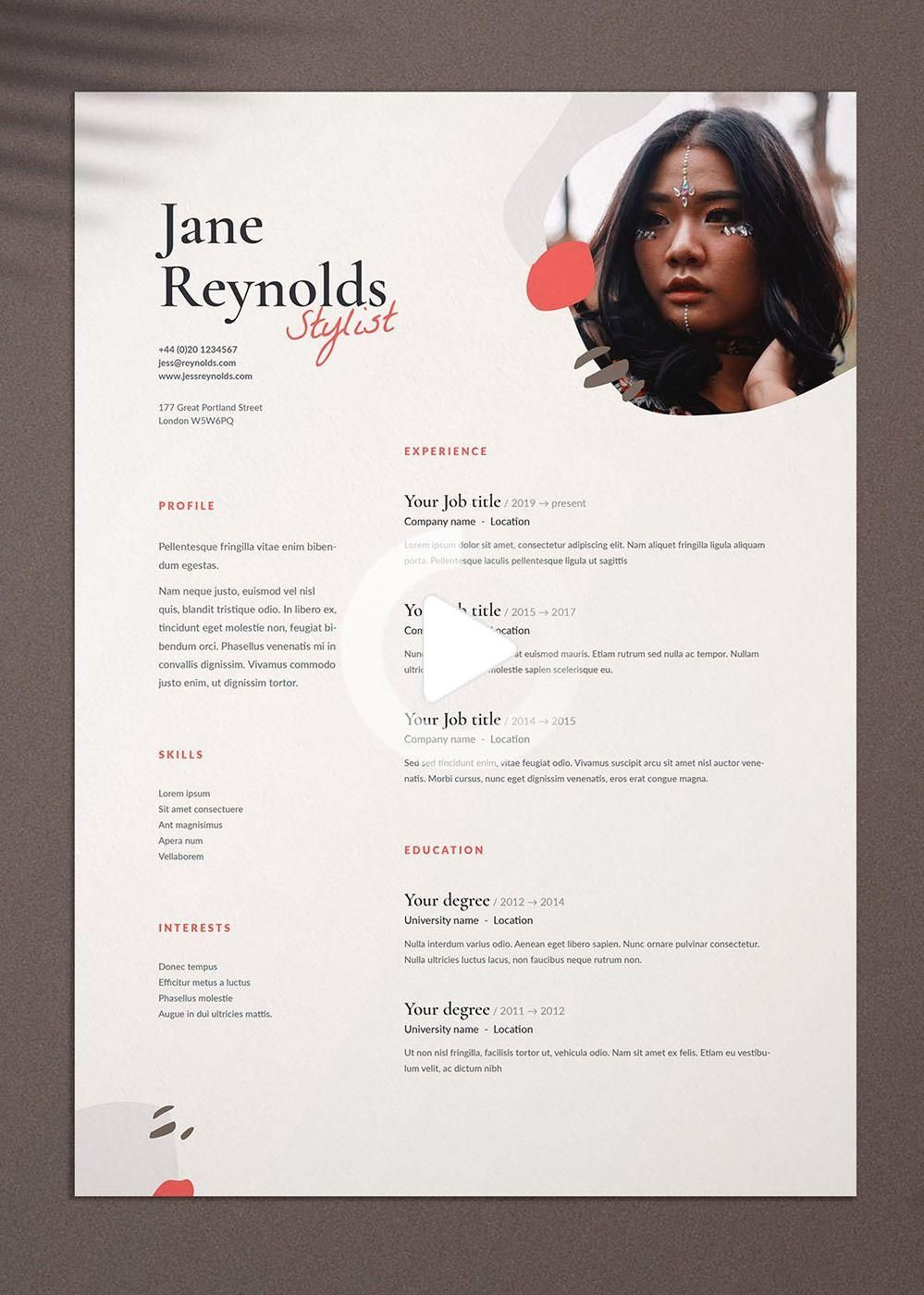 Jane Modele De Cv Cv Avec Lettre De Motivation Pour Photoshop Indesign Et Word A4 Lettre Graphic Design Resume Resume Design Creative Graphic Design Jobs