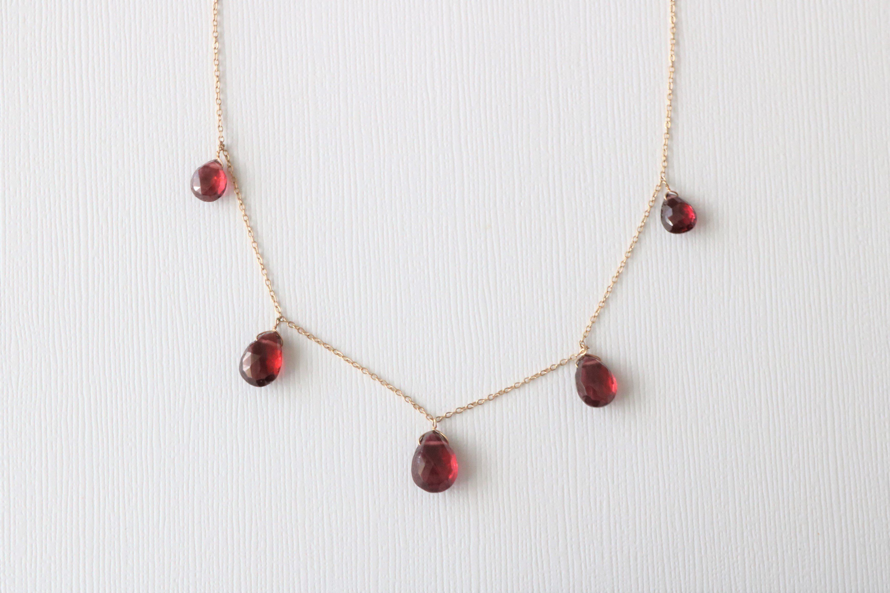 dainty by january red day birthstone s mother valentine pin necklace gift simple garnet