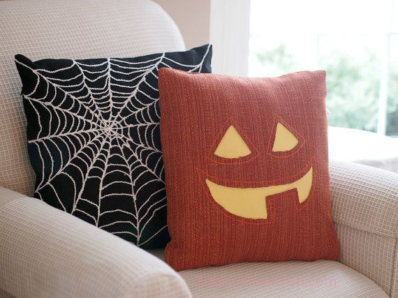 Jack o Lantern Pillow Cover Pumpkin Cute Halloween Decor 16 x 16