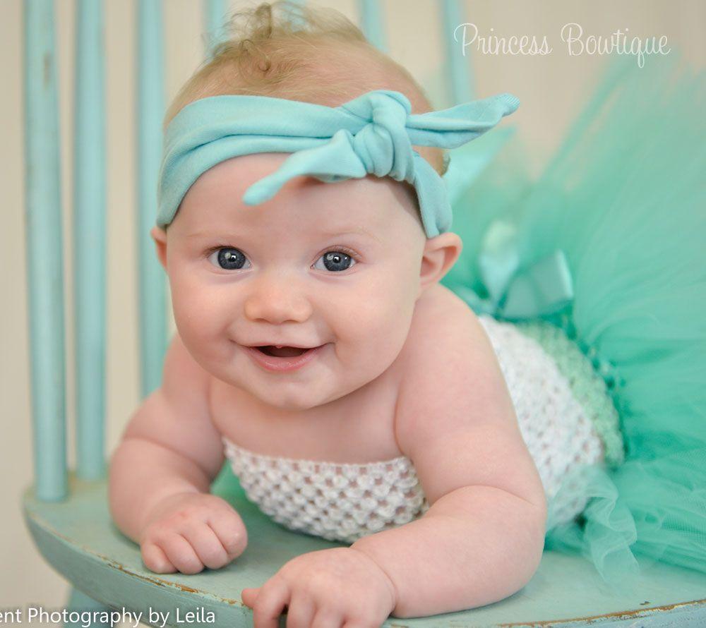 Aqua Green Knot Style Nylon Headband: Baby Headbands & Hair Bows at Princess Bowtique