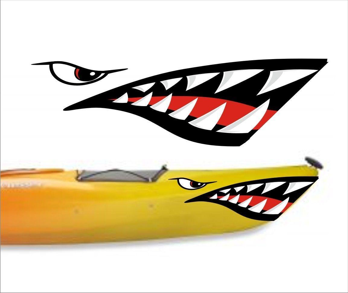 Shark teeth mouth decal stickers kayak canoe jet ski hobie for Bootsaufkleber design