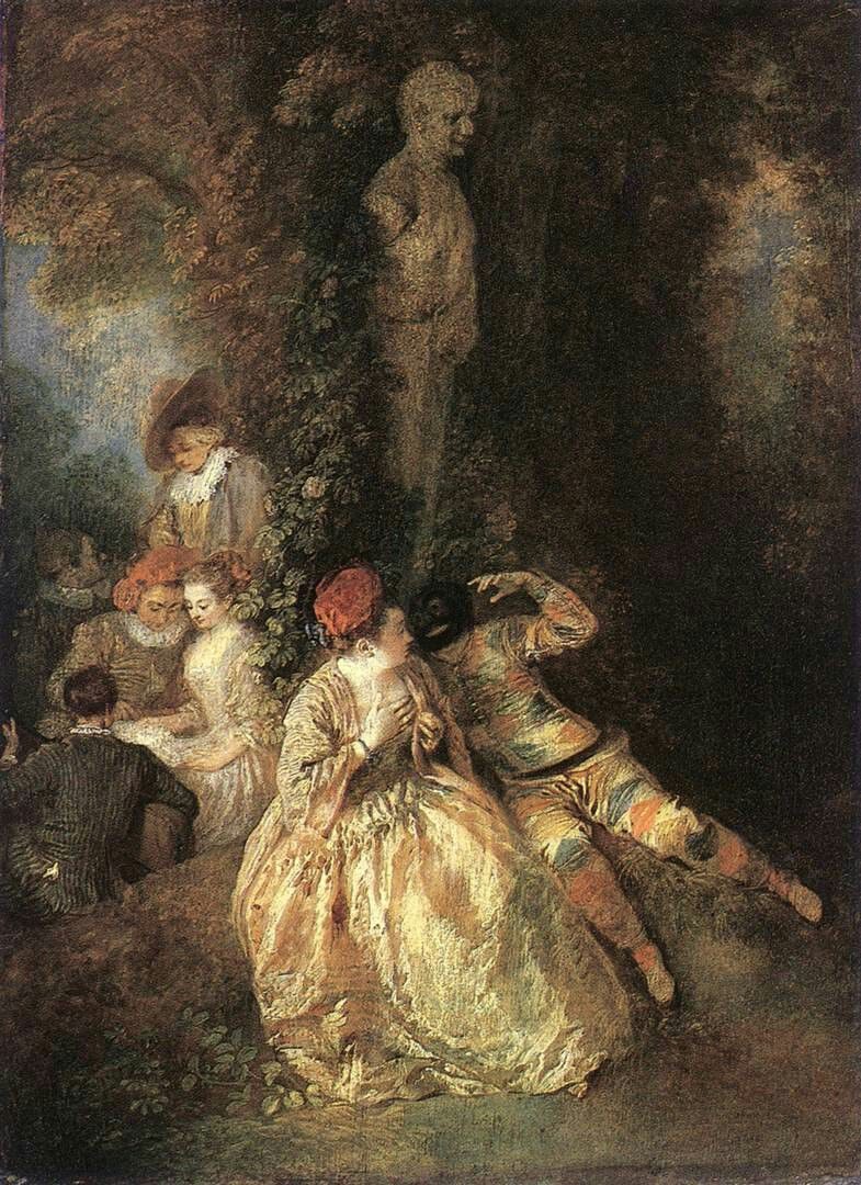 Jean-Antoine Watteau - Harlequin and Columbine, 1716-18, Oil on wood, 36 x 26 cm, Wallace Collection, London