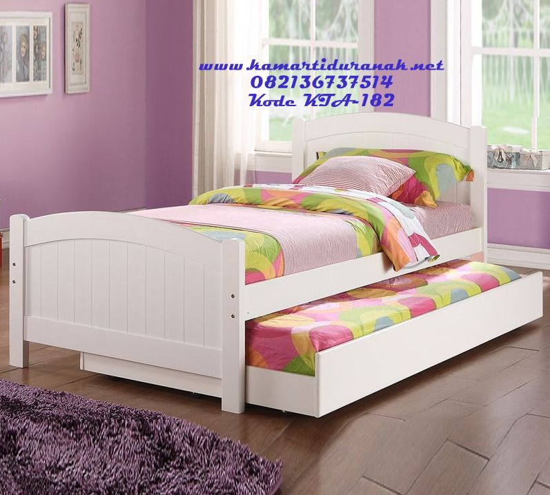 Excite Your Child With This Twin Wood Bed In A White Colored It Also Includes Trundle Perfect For Sleepovers