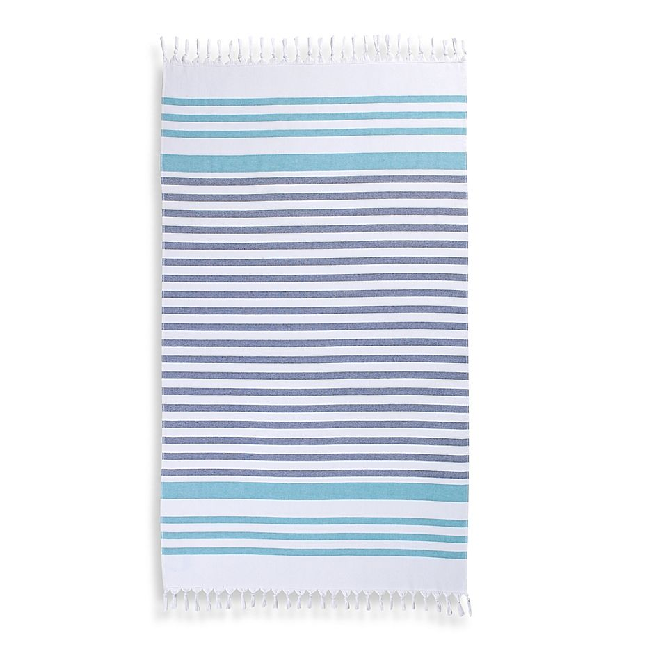 Cabana Stripe Turkish Cotton Beach Towel In Aqua Beach Towel