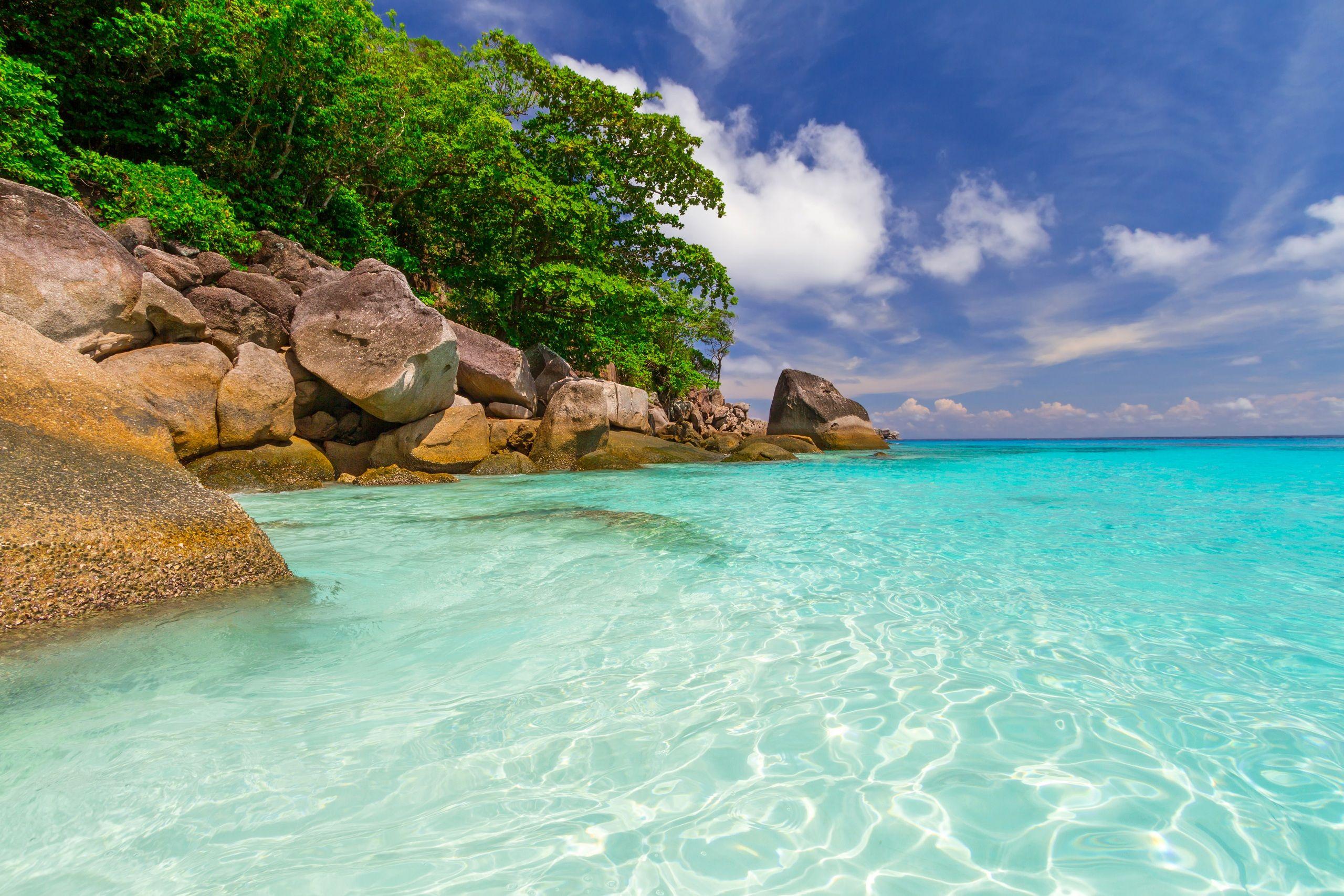 Fonds D Ecran Thailande Tropique Cote Mer Pierres Ciel Phuket Nature Image Fond Ecran Phuket Fond Ecran Summer
