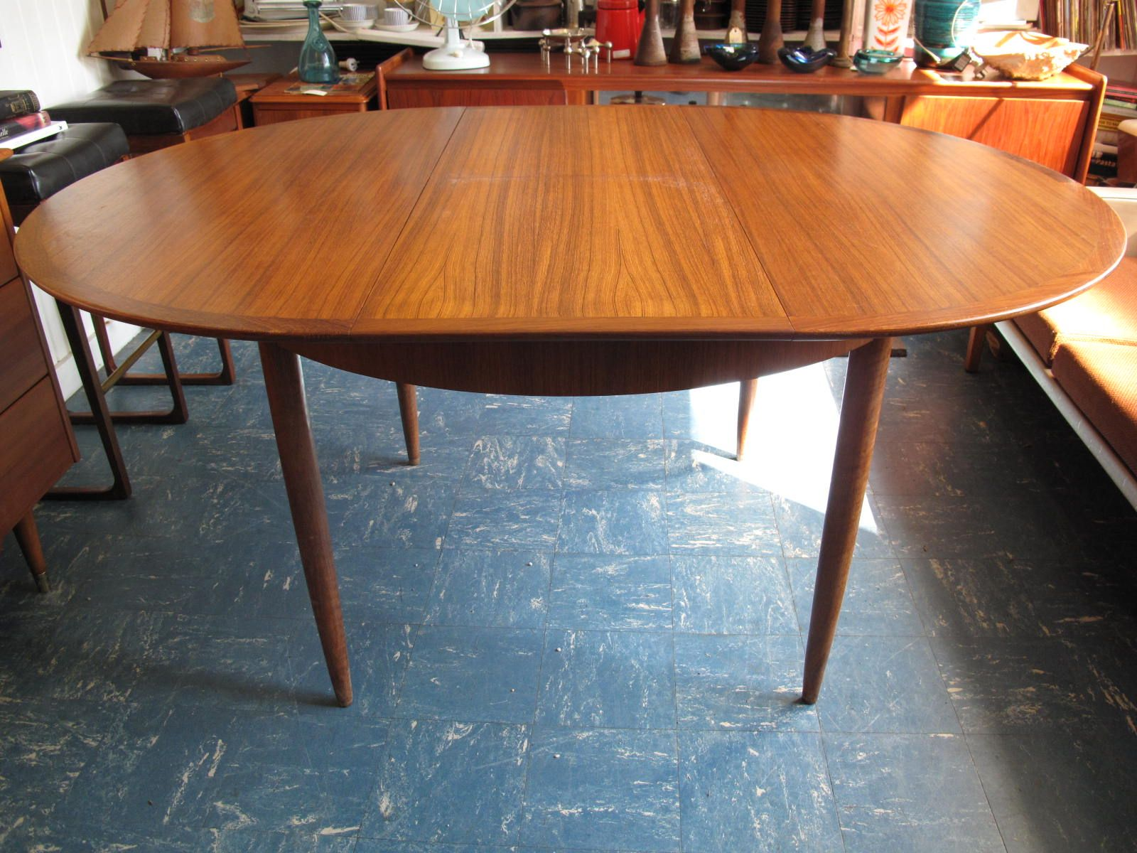 Parker Teak Extendable Round Vintage Danish Style Dining Table ...