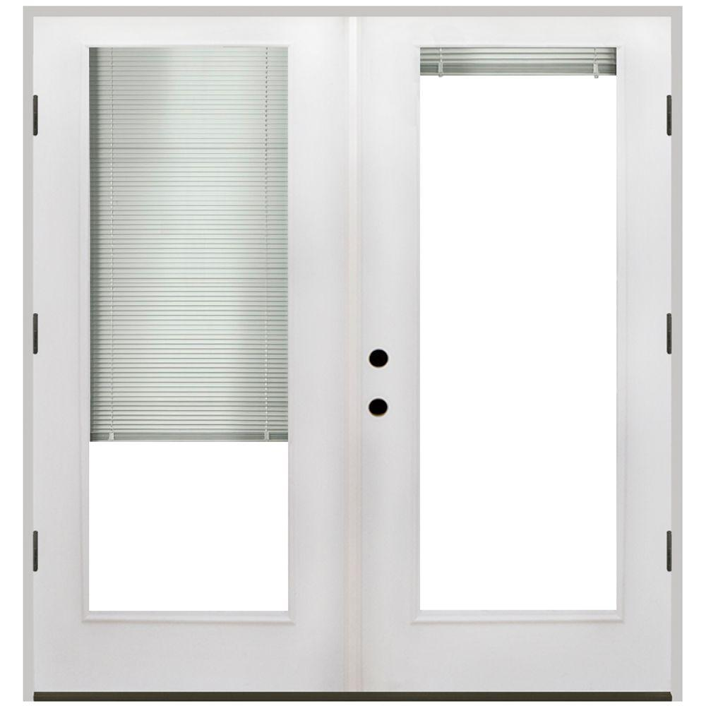 Steves Sons 68 In X 80 In Primed White Fiberglass Prehung Left Hand Outswing Mini Blind Patio Door Fgpmb Pr 68 4olh The Home Depot Patio Doors Mini Blinds Cheap Patio Furniture