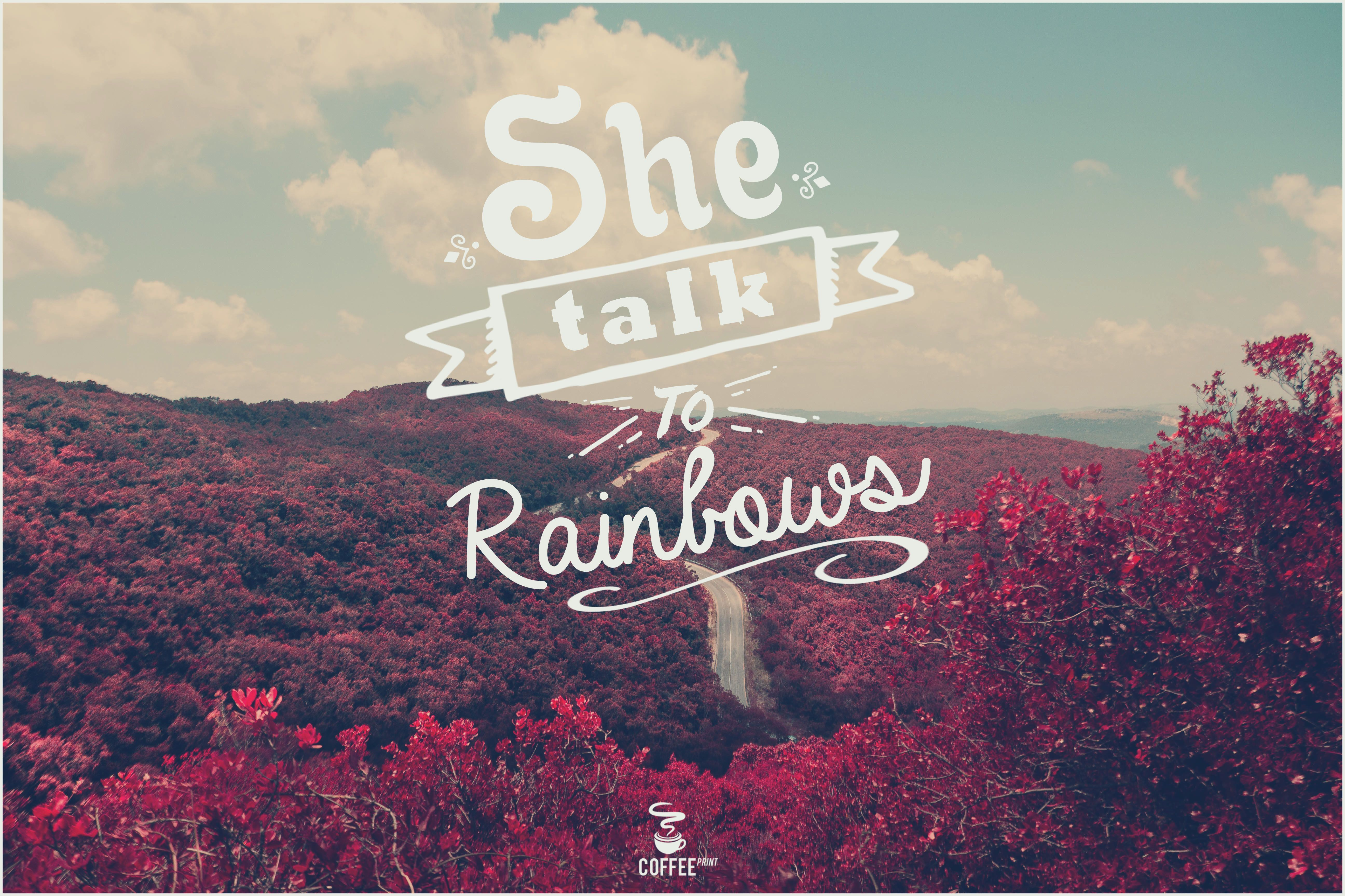 She talk to rainbows - Ramones. Frases Rock. Frases Coffee Print