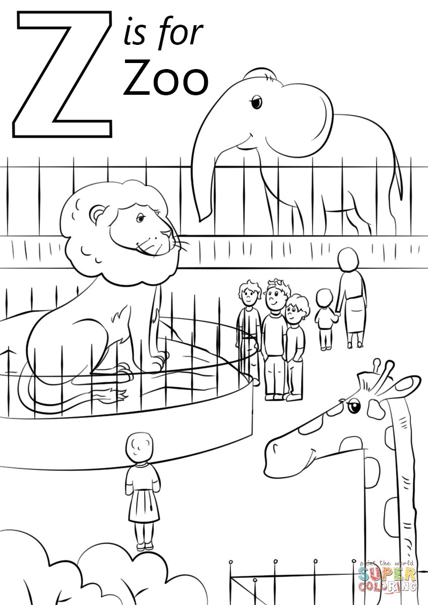 letter z is for zoo coloring page free printable coloring pages school pk k literacy. Black Bedroom Furniture Sets. Home Design Ideas