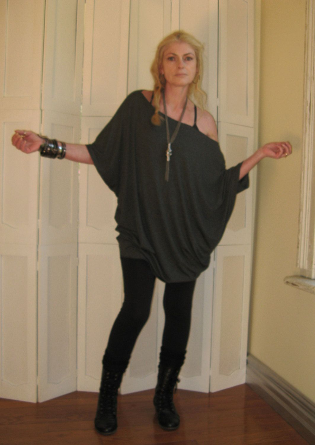 Oversized Tunic Off Shoulder Dress Dolman Sleeve Sweater Relaxed ...