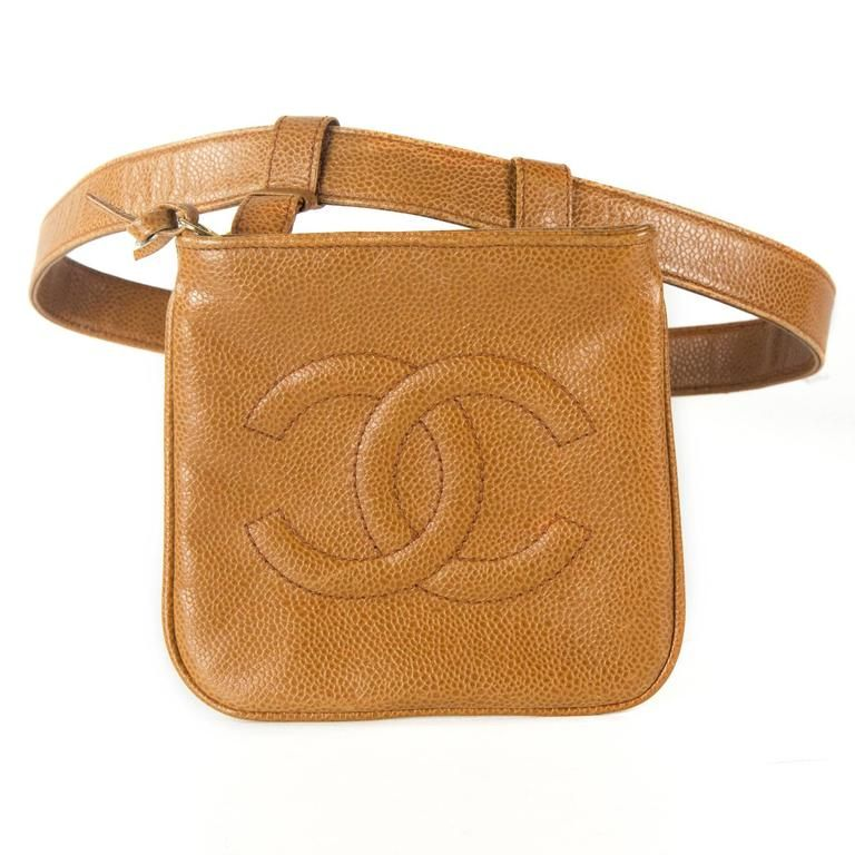 aa366c98dbe3 Chanel Caviar Belt Bag - Tan Leather CC Logo Vintage Caramel Waist Handbag  Beige 1975-99
