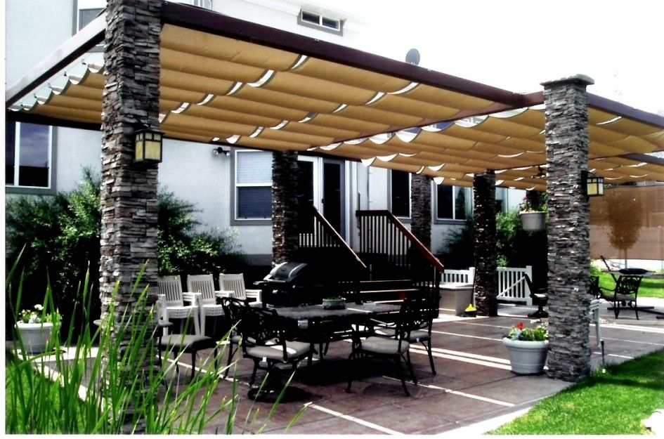 Creative Outdoor Patio Shades Awnings From Retractable Canvas Roof With Faux Stacked Stone Pillars Also Large