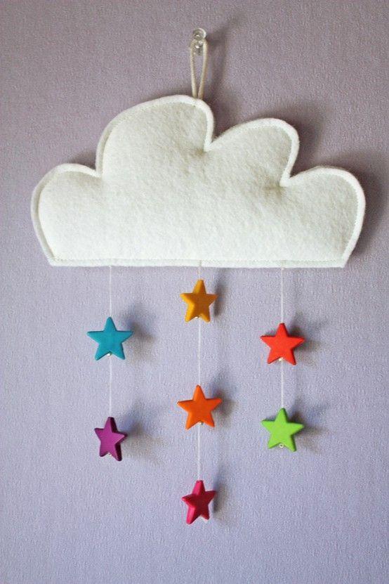 Deco Fait Main Chambre Bebe #14: Mobile Nuage/étoile Chambre Bébé Décoration Nursery Garçon Fille Baby  Bedroom Boys Girls Enfant Diy