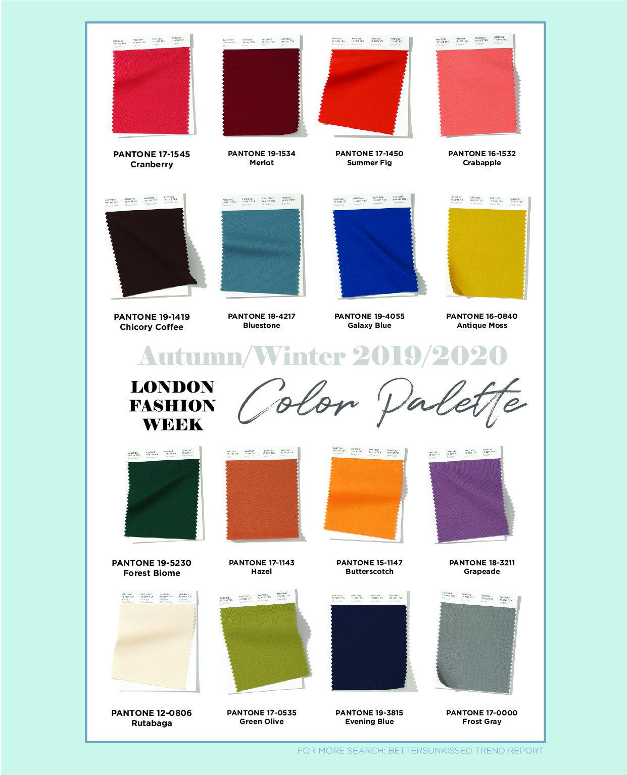 Fall Color Palette 2020.London Fashion Week Color Palette Autumn Winter 2019 2020